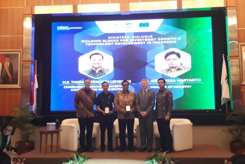Badan Koordinasi Penanaman Modal Indonesia (BKPM) dan Kamar Dagang Eropa di Indonesia (EuroCham) menyelenggarakan Outlook Ekonomi dan lnvestasi Indonesia 2019, di Gedung BKPM, Jakarta Selatan, Rabu (6/2).
