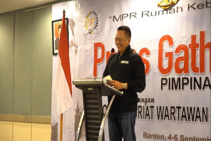 Bamsoet dalam acara Press Gathering Wartawan Koordinatoriat MPR RI, di Anyer, Banten, Sabtu (5/9). Bamsoet sebut sebagai pilar keempat pers harus bangun masyarakat yang melek informasi