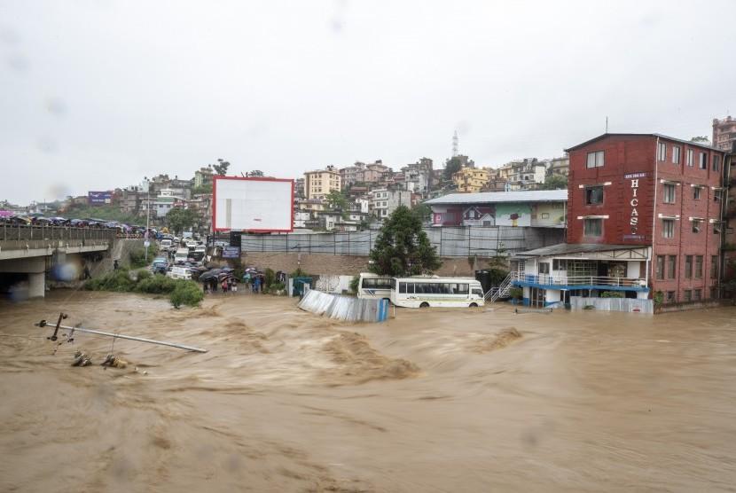 Banjir di Kathmandu, Nepal.