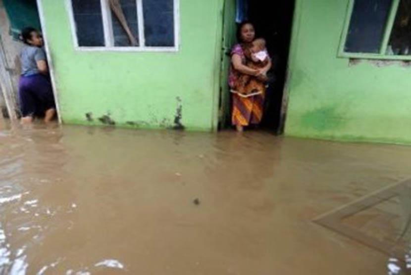Banjir rendam rumah warga. (ilustrasi)