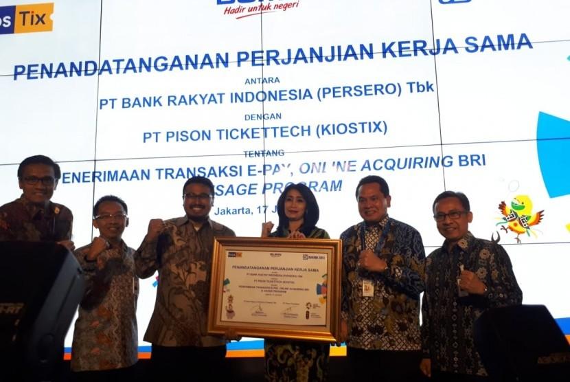 Bank Rakyat Indonesia (BRI) menandatangani Perjanjian Kerja Sama dengan Pison Tickettech (Kiostix) terkait pembayaran tiket Asian Games 2018.