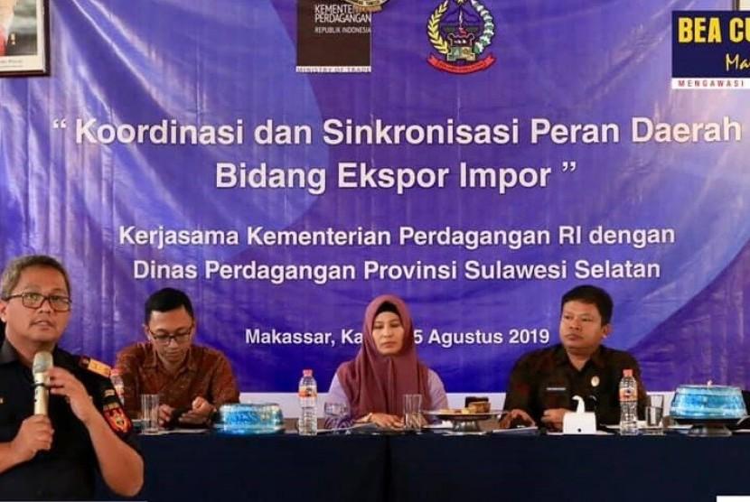 Bea Cukai Makassar menghadiri koordinasi dan sinkronisasi peran daerah di bidang ekspor impor yang dilaksanakan oleh Kementerian Perdagangan,  (15/8).