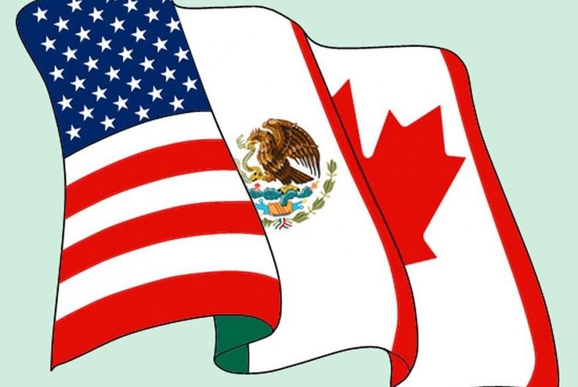 Bendera AS, Meksiko, dan Kanada (ilustrasi)