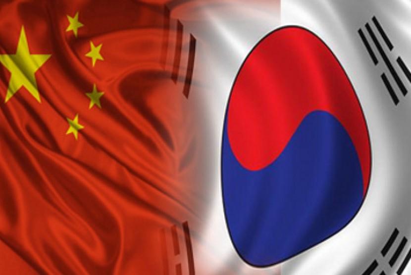 Bendera Cina dan Korea Selatan (ilustrasi)