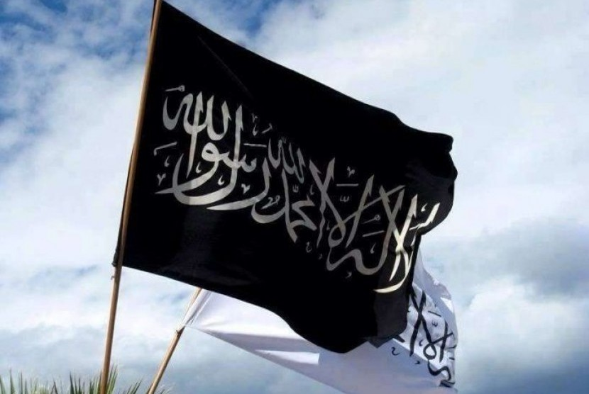 Bendera Rayah dan liwa' bertuliskan La ilaha illa Allah Muhammad Rasulullah.