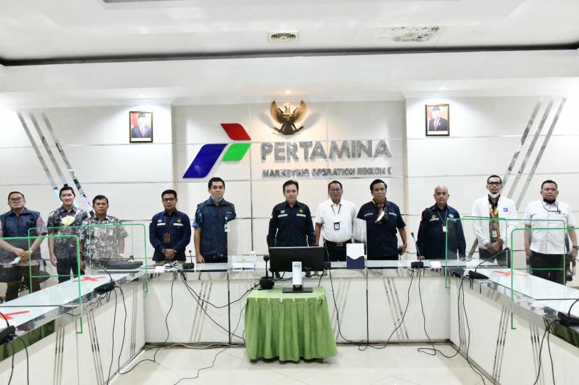 Kepala BPH Migas M Fanshurullah Asa bersama team diterima Pjs. GM PT Pertamina MOR II Sumbagsel Pande Made Andi Suryawan bersama jajarannya (5/5).