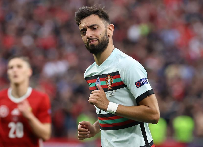 Ekspresi Bruno Fernandes saat membela Portugal di Euro 2020.