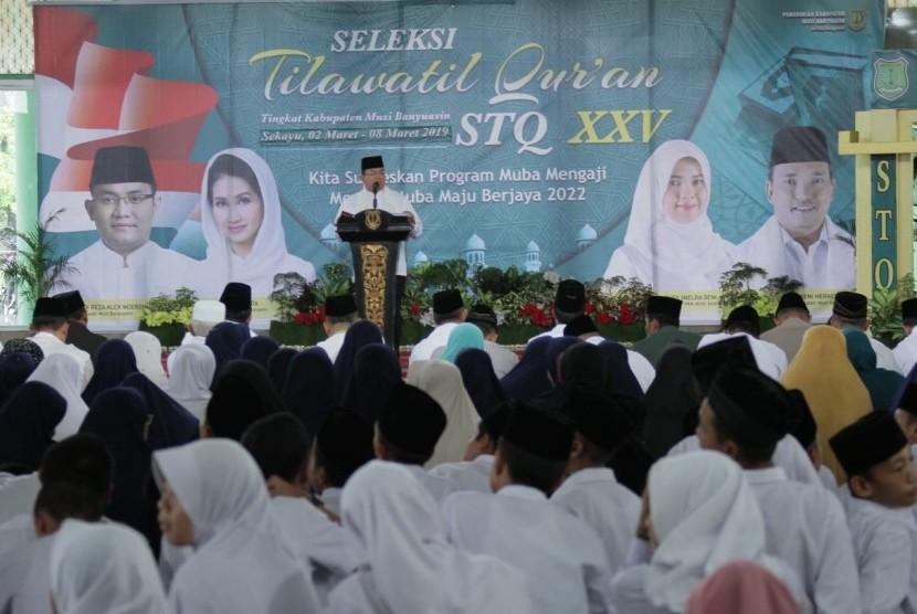 Bupati Kabupaten Musi Banyuasin (Muba) Dodi Reza Alex Senin (4/3) membuka Seleksi Tilawatil Quran (STQ).  STQ ke-XXV di Muba berlangsung di Masjid Jamik An Nur, Sekayu. STQ yang diikuti peserta dari 15 kecamatan di Muba
