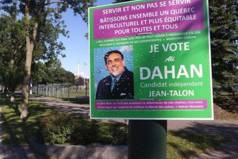 Calon legislatif independen di Quebec, Kanada yang beragama Islam berhenti kampanye karena diancam.