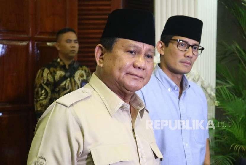 Calon presiden (capres) dan calon wakil presiden (cawapres) nomor urut 02 Prabowo Subianto - Sandiaga Salahuddin Uno