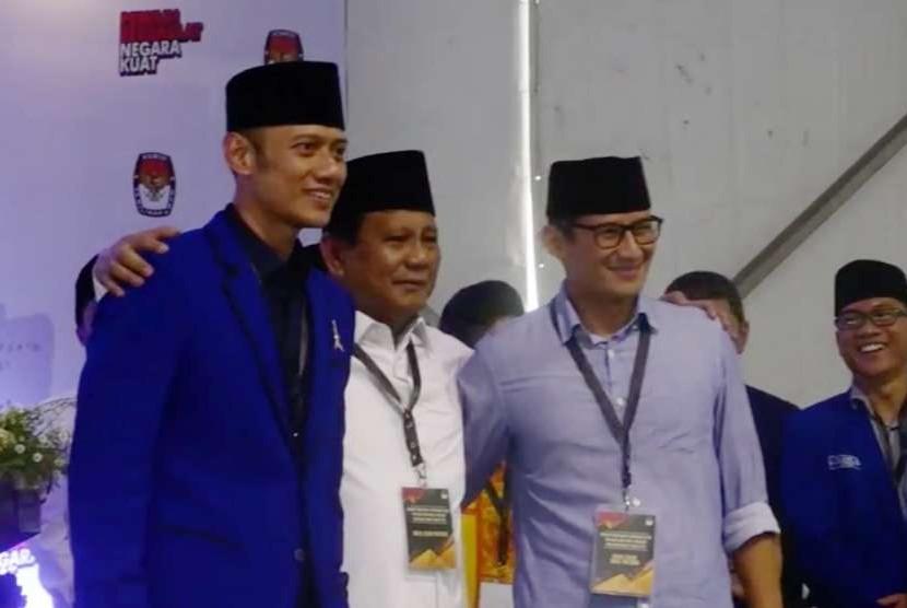 Calon Presiden dan Calon Wakil Presiden, Prabowo Subianto-Sandiaga Uno bersama AHY