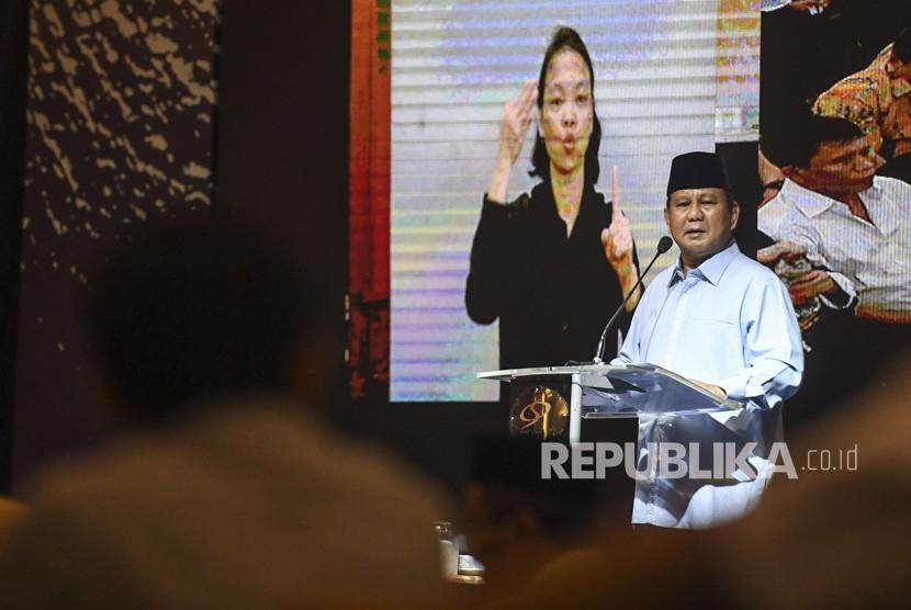 Calon Presiden nomor urut 02 Prabowo Subianto berpidato saat menghadiri peringatan Hari Disabilitas Internasional di Jakarta, Rabu (5/12/2018).