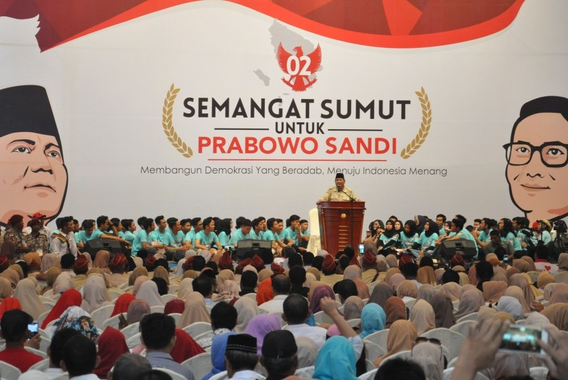 Presidential candidate number 02 Prabowo Subianto attends a mass gathering with thousand of his supporters in Medan, North Sumatra, on Saturday.