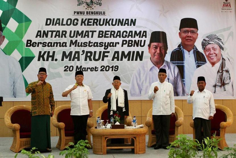 Calon Wakil Presiden (Cawapres) nomor urut 01, KH. Ma'ruf Amin  saat menghadiri Dialog Kerukunan Antar Umat Beragama di Bengkulu, Rabu  (20/3).