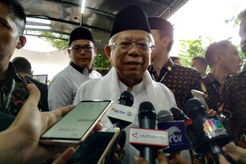 Calon wakil presiden (cawapres) nomor urut 01 Ma'ruf Amin melayat ke kediaman Presiden RI ke-6 Susilo Bambang Yudhoyono (SBY) di Puri Cikeas, Cikeas, Bogor, Jawa Barat, Ahad (2/6).