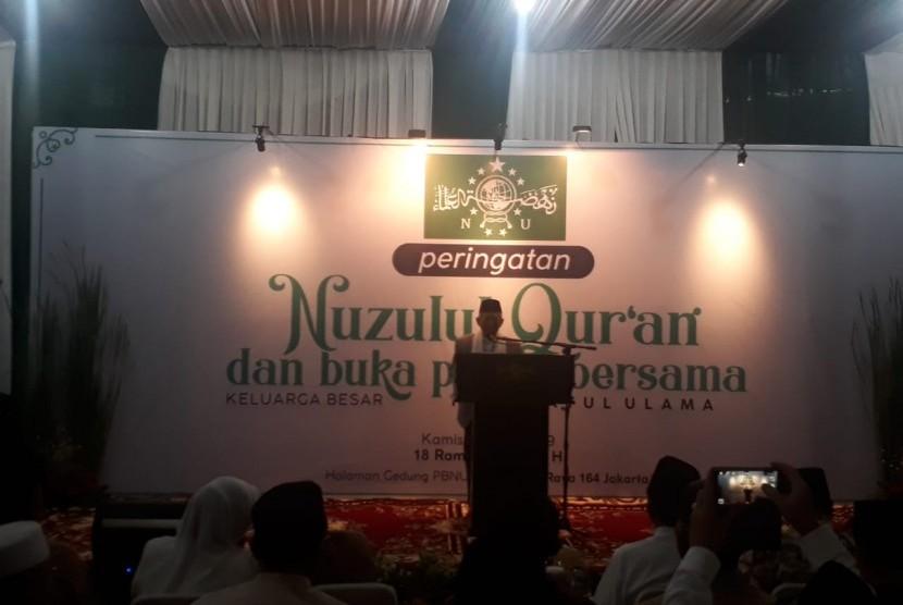 Calon Wakil Presiden KH Ma'ruf Amin saat menghadiri peringatan Nuzulul Quran dan buka puasa di Kantor PBNU, Jakarta, Kamis (23/5).