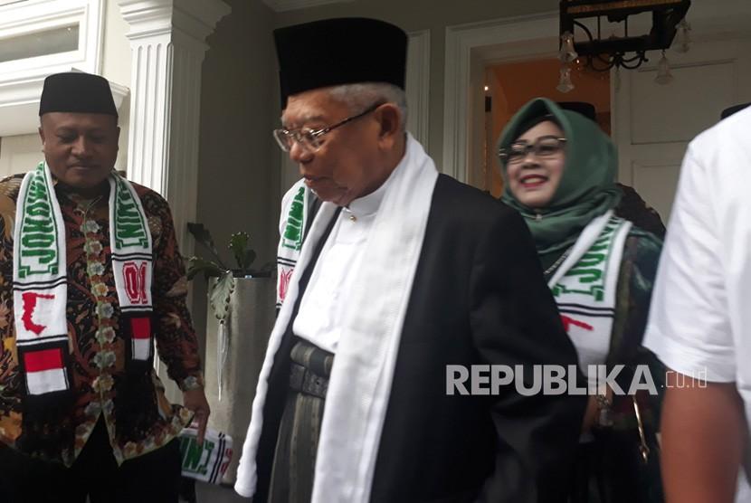 Calon Wakil Presiden nomor urut 01, KH. Ma'ruf Ami saat  menghadiri acara Milad ke-26 Pondok Pesantren Al Muhajirin dan Harlah NU  ke-93 di Kabupaten Purwakarta, Sabtu (16/2).