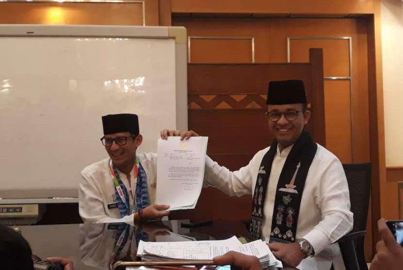 Sandiaga Salahuddin Uno dan Gubernur DKI Jakarta Anies Rasyid Baswedan