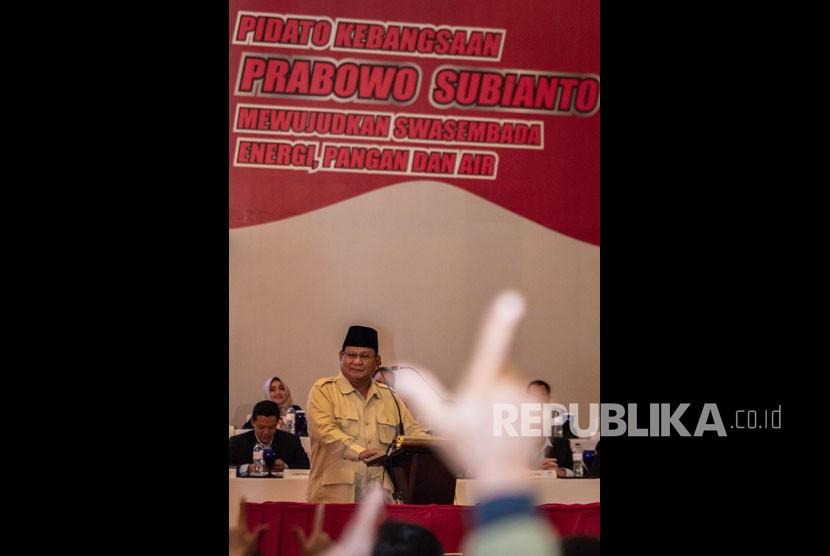 Capres nomor urut 02 Prabowo Subianto menyampaikan pidato kebangsaan di Semarang, Jawa Tengah, Jumat (15/21019).