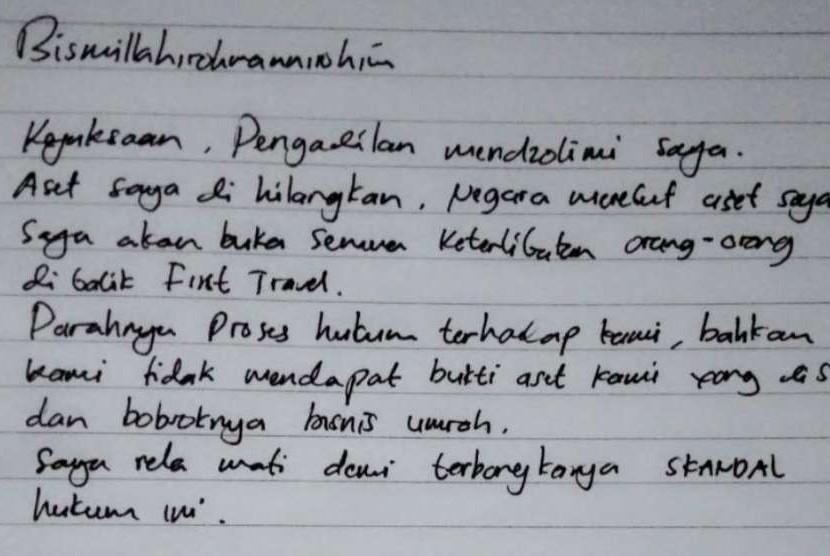 Catatan tangan bos First Travel Andika Surachman yang berisi soal kasus hukum yang menjerat dirinya.