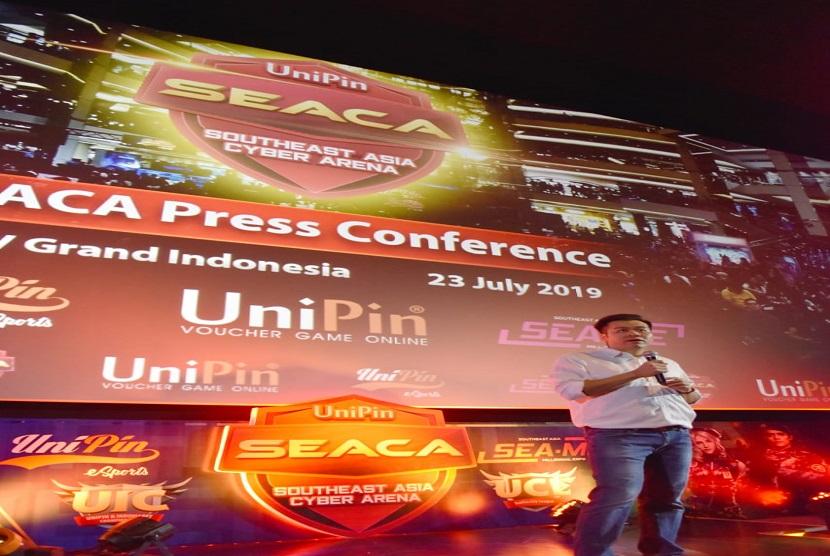 CEO Unipin Ashadi Ang dalam konferensi pers gelaran SEACA 2019