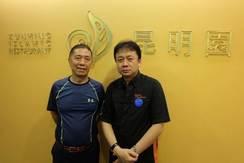 Chairman IITCF Priyadi Abadi (kanan) bersama pemilik  Kunming Islamic Restaurant, Taiwan, H Jacob.