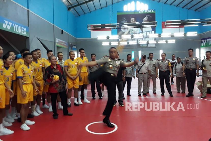 Atlet sepak takraw di Icuk Sugiarto Training Camp di Kadudampit Kabupaten Sukabumi. (ilustrasi)