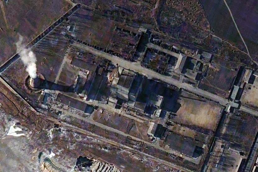Citra satelit yang menunjukkan lokasi reaktor nuklir Korea Utara (Korut) Yongbyon.