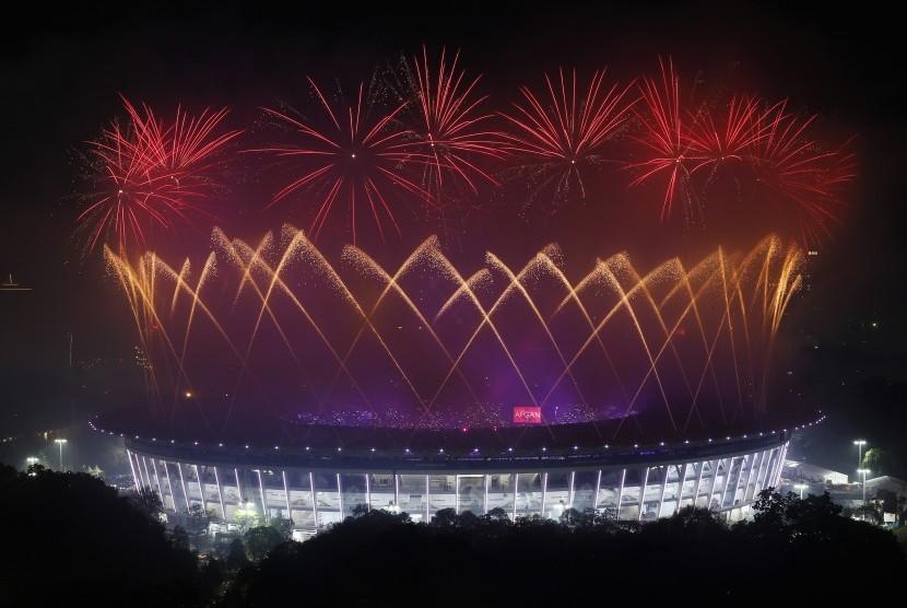 Closing ceremony Asian Games pada 2 September 2018. Penyelenggaraan Asian Games disebut-sebut mendongkrak perekonomian DKI Jakarta.