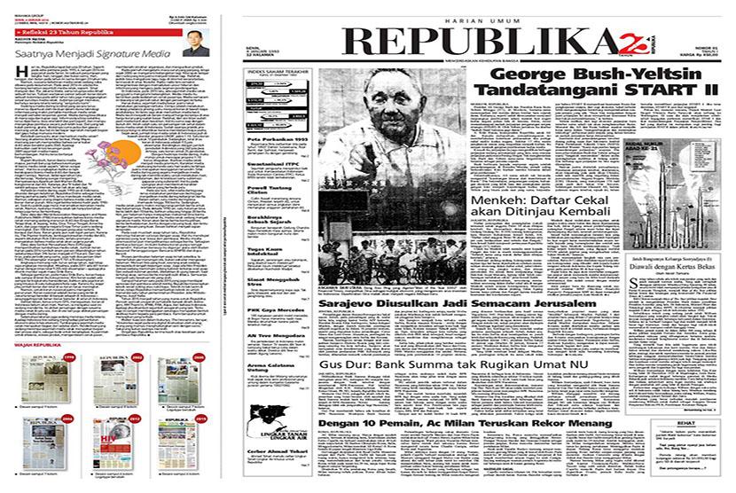 Cover Republika edisi pertama tahun 1993