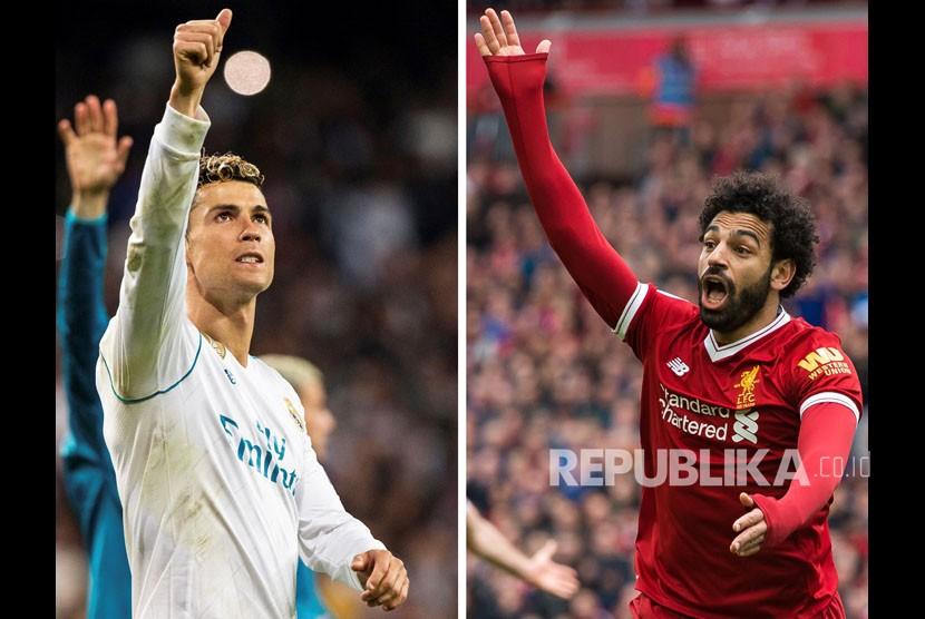 Cristiano Ronaldo dan Mohamed Salah