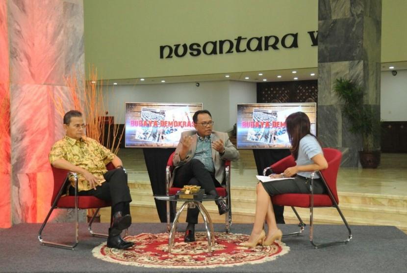 dalam dialog yang digelar Sekretariat Jendral MPR RI, MPR Rumah Kebangsaan dalam tema Budaya Demokrasi yang digelar pada Rabu, (18/10).