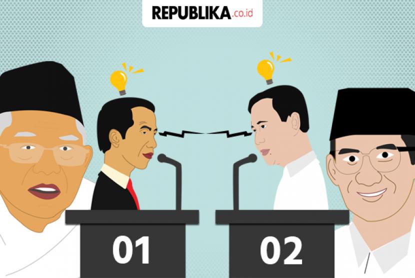 Joko Widodo-Ma'ruf Amin dan Prabowo Subianto-Sandiaga Uno (Ilustrasi).