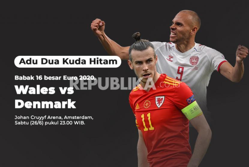 Denmark vs Wales di 16 besar Euro 2020, adu tajam Gareth Bale dan Martin Braithwaite.