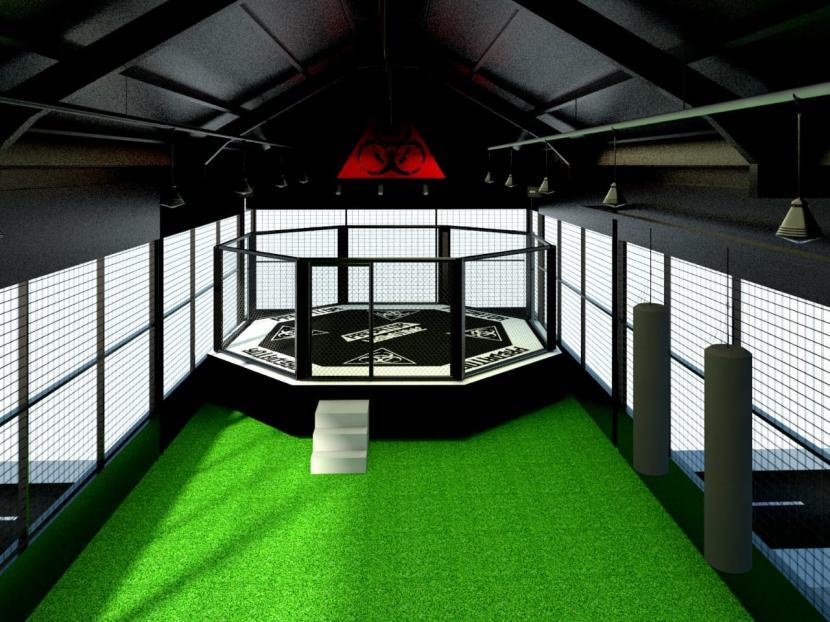 Desain gedung sasana Predator MMA Indonesia di Kota Solo. Sasana tersebut diproyeksikan sebagai pusat pelatihan atlet Mixed Martial Arts (MMA) terbesar dan terlengkap di Indonesia.