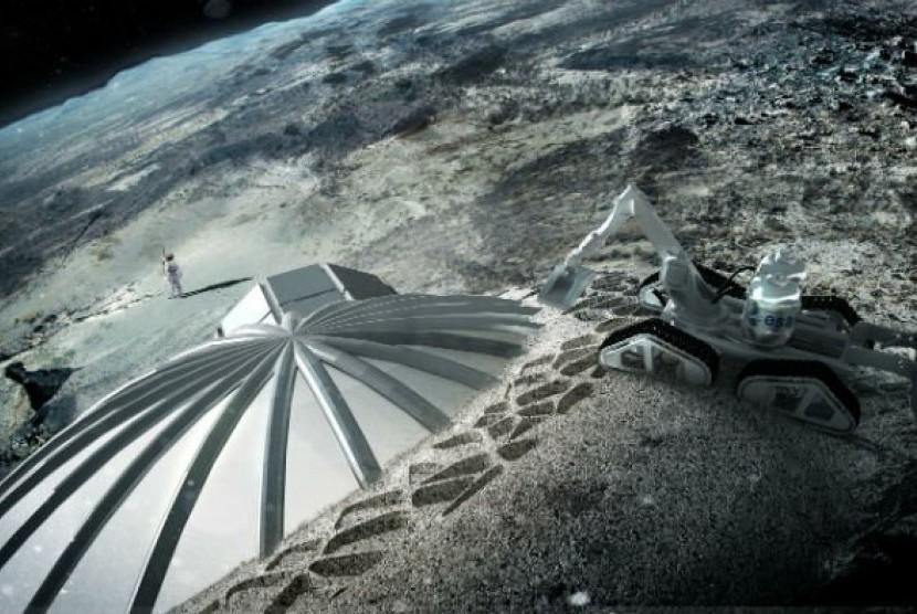 desain kubah yang akan dibuat di bulan