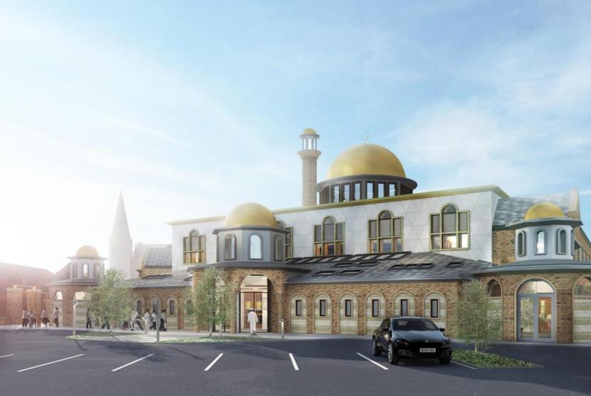 Desain masjid baru yang akan dibangun di Jalan Blackburn, Bolton, Inggris