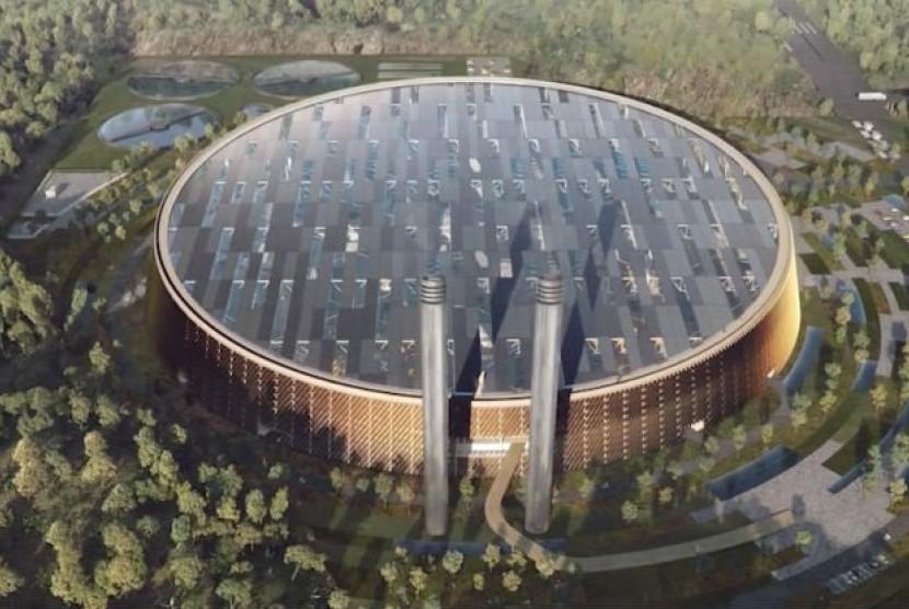 Desain pembangkit listrik tenaga sampah terbesar di Cina.