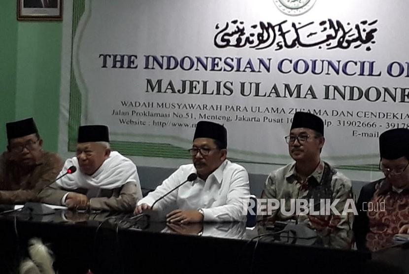 Dewan Pimpinan Majelis Ulama Indonesia (MUI) pusat menyampaikan tausiyah MUI Menyambut Idul Fitri 1439 H di kantor MUI pusat, Jakarta, Selasa (12/6).