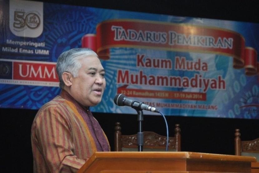 Din Syamsuddin saat membuka kegiatan Tadarus Pemikiran Kaum Muda Muhammadiyah di Universitas Muhammadiyah Malang (UMM).
