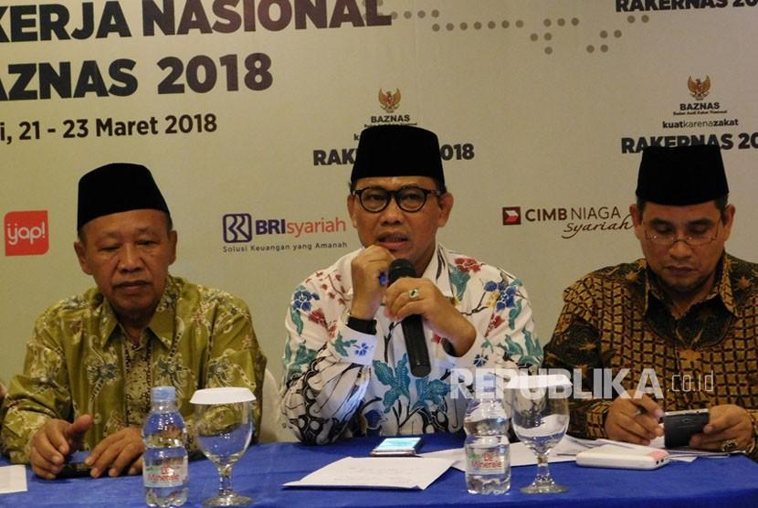 Direktorat Jenderal Bimbingan Masyarakat Islam (Dirjen Bimas) Kementerian Agama (Kemenag), Prof Muhammadiyah Amin saat menghadiri Rakernas Baznas tahun 2018 di Grand Inna Bali Beach Hotel, Denpasar, Provinsi Bali.
