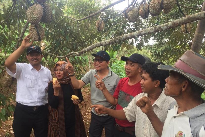 Direktur Jenderal Hortikultuta, Suwandi saat menghadiri panen dan lomba durian lokal di Kemranjen, Banyumas, Sabtu (10/11)
