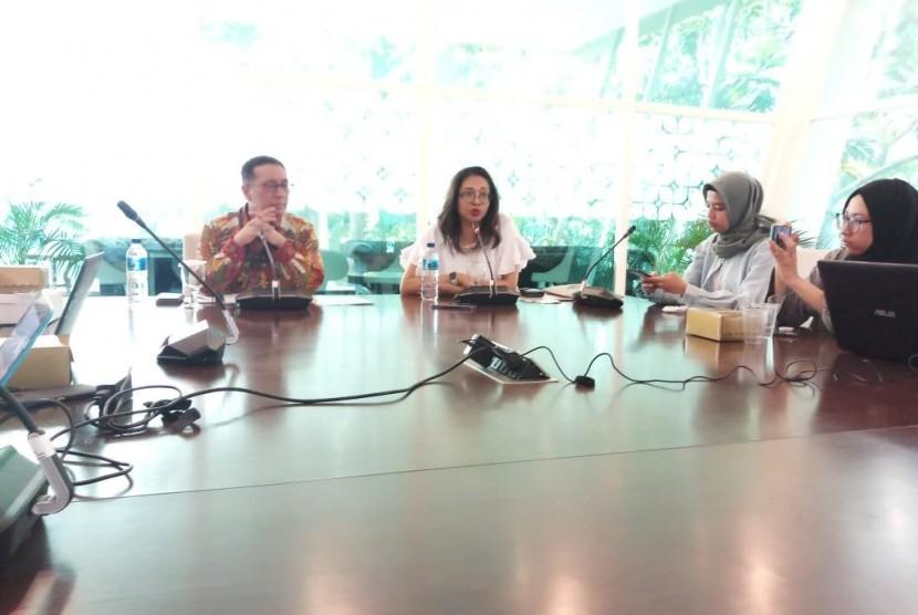Direktur Jendral Kerja Sama Multilateral Kemenlu RI Febrian A Ruddyard menjelaskan capaian Indonesia selama menjadi presiden di DK PBB Mei. Jakarta, Selasa (11/6).