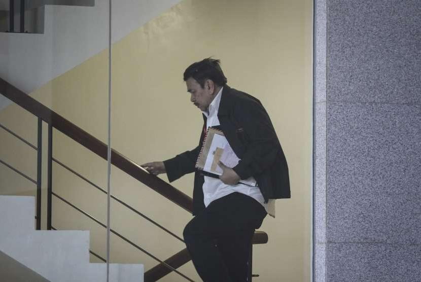 Direktur PT Smelting Indonesia Prihadi Santoso bersiap menjalani pemeriksaan di gedung KPK, Jakarta, Rabu (12/9).