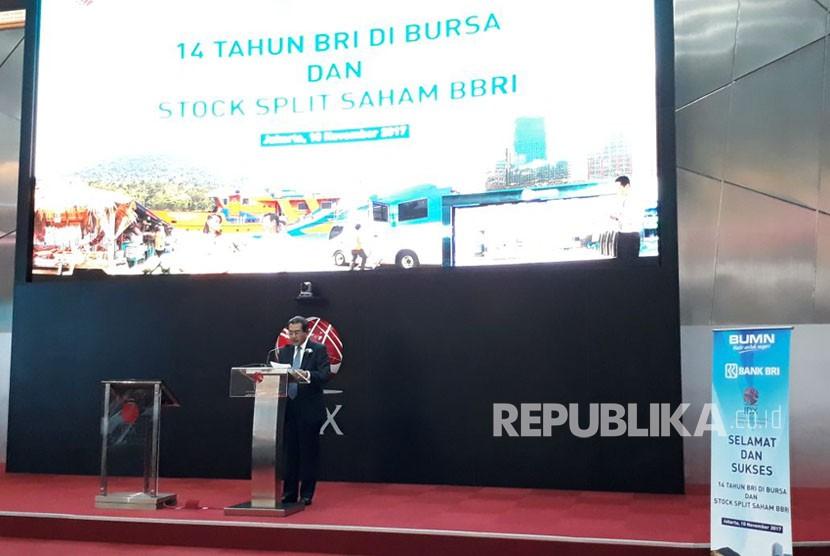 Direktur Utama BRI Suprajarta menjelaskan optimisme perusahaan dan peningkatan saham BRI yang terus terjadi, Jumat (10/11).
