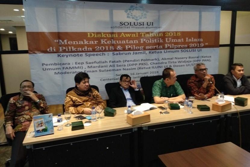 Diskusi Awal Tahun 2018 yang diselenggarakan oleh Solusi UI bekerja sama dengan Forum Akselerasi Masyarakat Madani Indonesia (FAMMI).