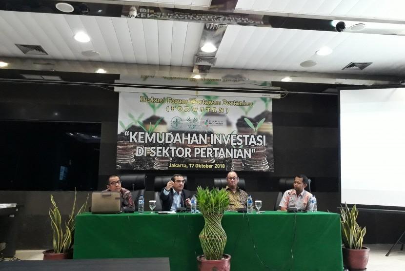 Diskusi media bertema 'Kemudahan Investasi Sektor Pertanian' di Gedung PIA Kementerian Pertanian, Rabu (17/10).