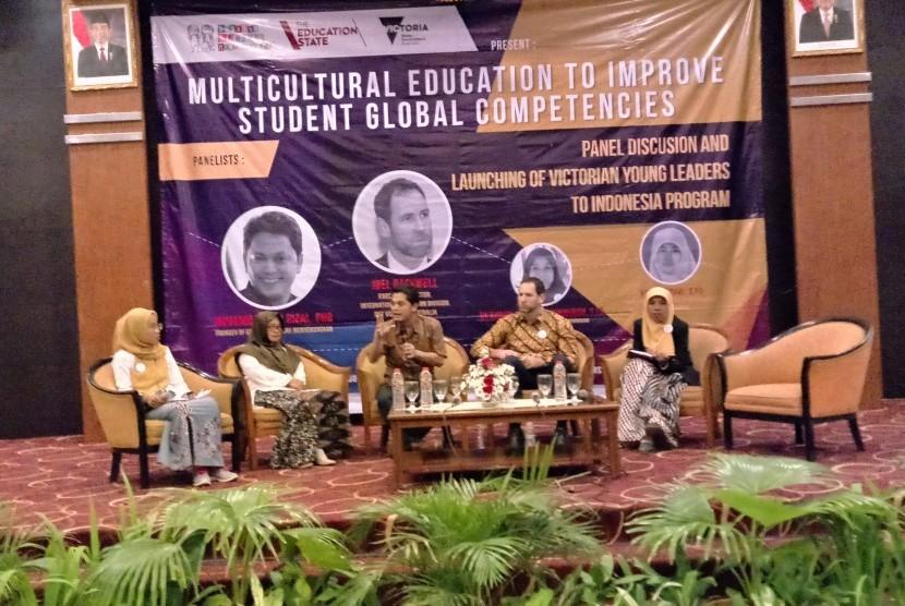 Diskusi panel dan peluncuran program 'Victorian Young Leaders to Indonesia' di Gadjah Mada University Club, Yogyakarta, Rabu (1/7).