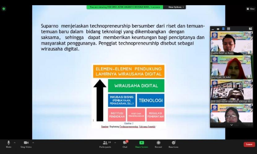 Dosen Fakultas Ekonomi dan Bisnis Universitas BSI (Bina Sarana Informatika) berupaya melakukan kegiatan Pengabdian Masyarakat dengan mengusung tema literasi digital yang sedang tren saat ini, Sabtu (18/9).