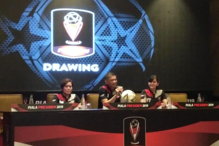 Drawing Piala Presiden 2019 di Hotel Sultan, Jakarta, Selasa (19/2).
